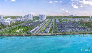 La Villa Green City có khoảng 800 căn nhà phố/biệt thự cao cấp, nổi bật là dãy biệt thự dọc theo cung đường của dòng chảy sông Vàm Cỏ Tây