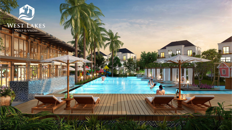 """Sự xuất hiện của Tổ hợp giải trí và Công viên nước hứa hẹn sẽ hút thêm du khách tới West Lakes Golf & Villas, gia tăng cơ hội khai thác cho thuê với các nhà đầu tư tại dự án, đồng thời đưa Long An trở thành điểm nghỉ dưỡng """"staycation"""" hấp dẫn nhất khu Tây Sài Gòn."""
