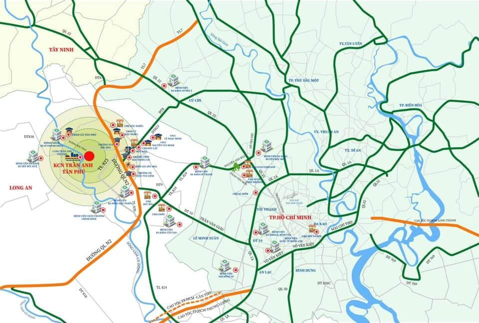 Vị trí dự án KCN Trần Anh Tân Phú - Sơ đồ liên kết vùng
